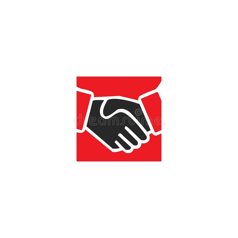 Handshake business logo - two hands make a deal on white background. Handshake icon. Partnership and agreement symbol. Handshake business logo - two hands make a vector illustration