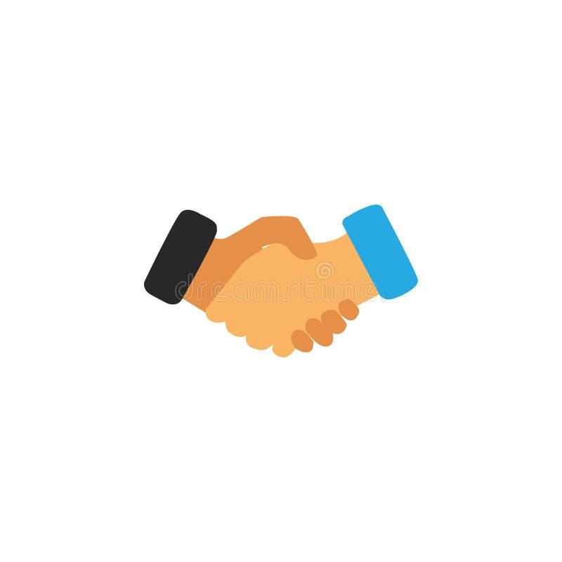 Handshake business logo - two hands make a deal on white background. Handshake icon. Partnership and agreement symbol. Handshake business logo - two hands make a royalty free illustration