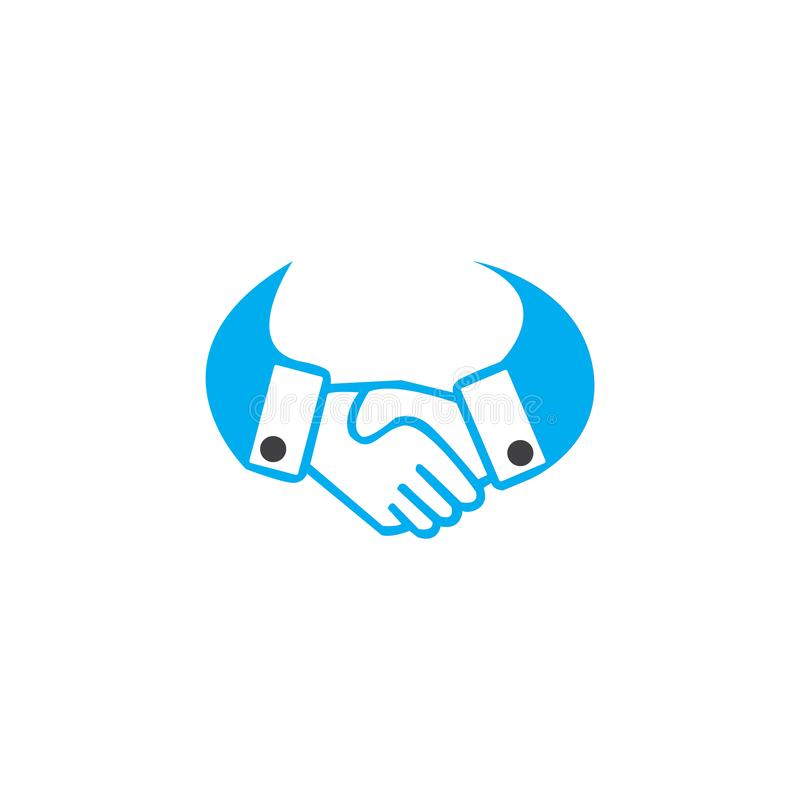 Handshake business logo - two hands make a deal on white background. Handshake icon. Partnership and agreement symbol royalty free illustration