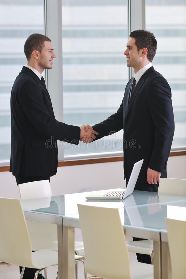 Handshake on business meeting stock image