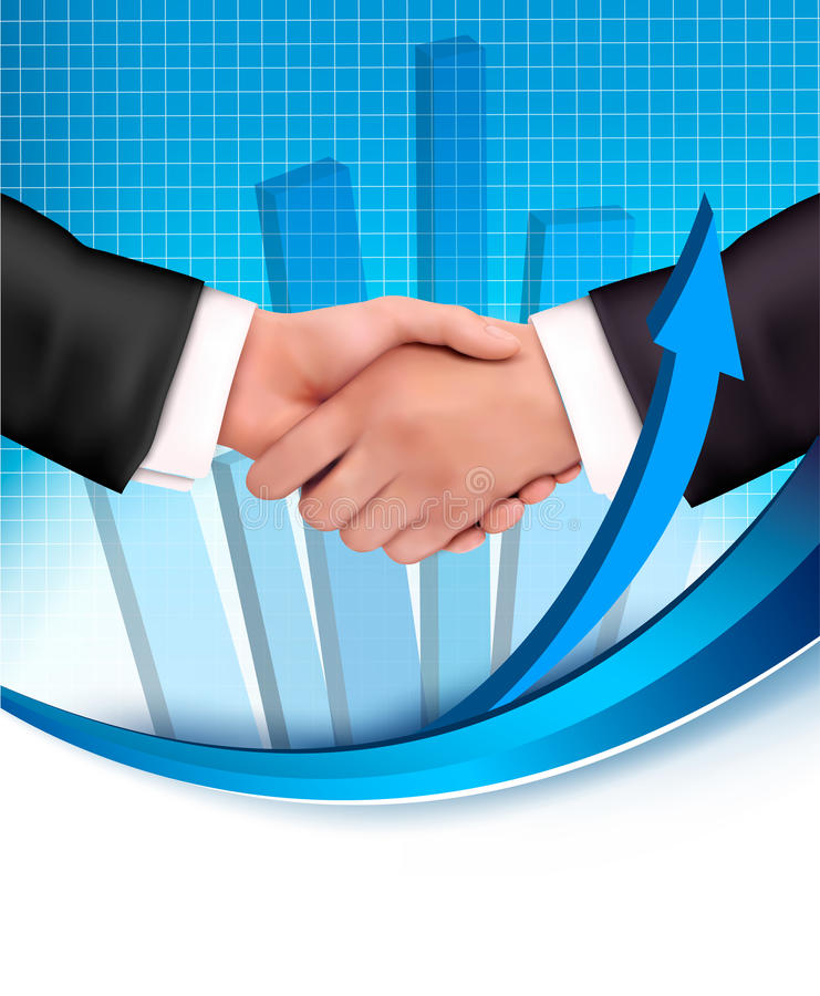 Handshake between business people with a graph royalty free illustration