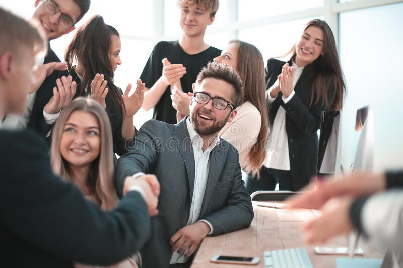 Handshake of business people at a meeting in the office stock photo