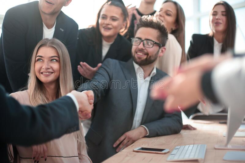 Handshake of business people at a meeting in the office royalty free stock images