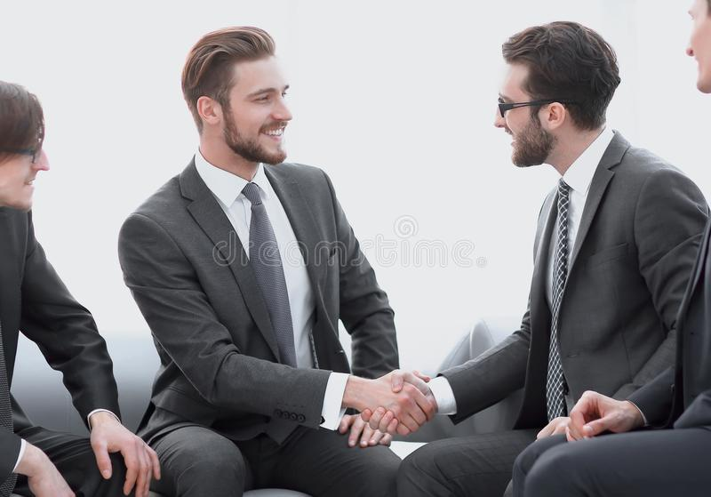 Handshake business people in the office. Photo with copy space royalty free stock photos