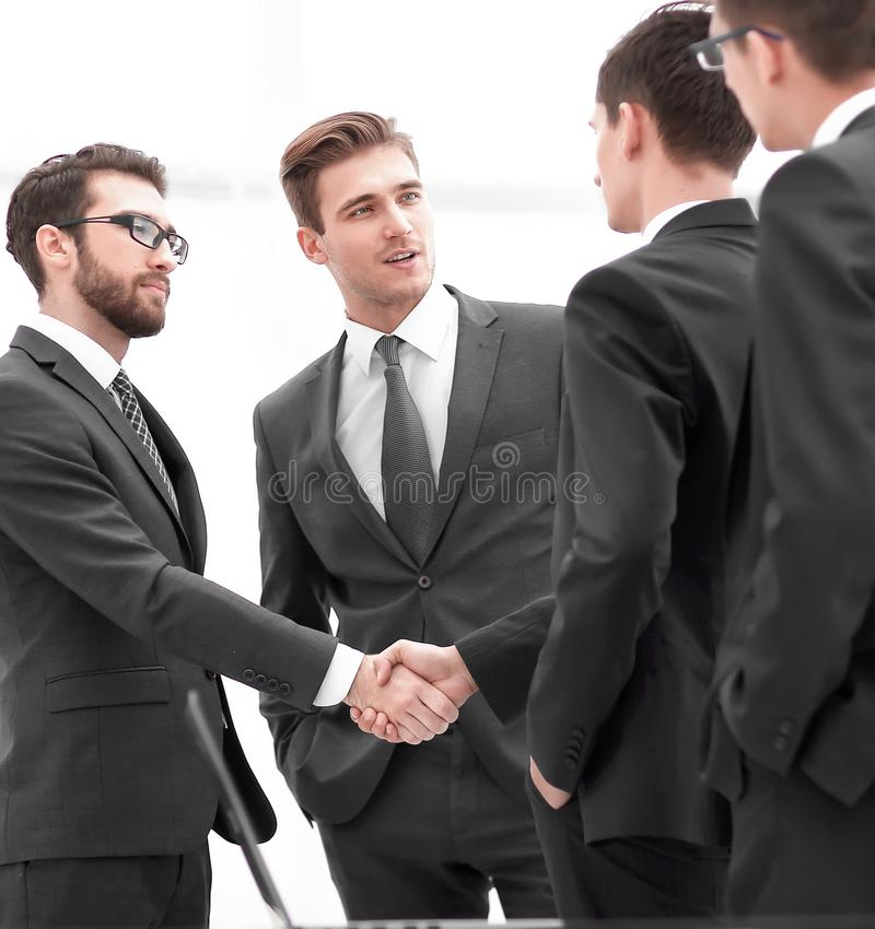 Handshake of business people.photo with copy space.  royalty free stock photography