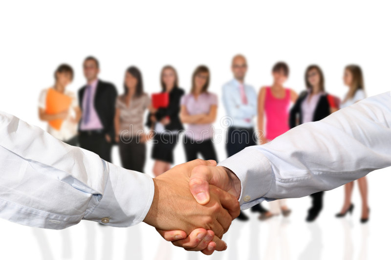 Handshake and business team royalty free stock photos