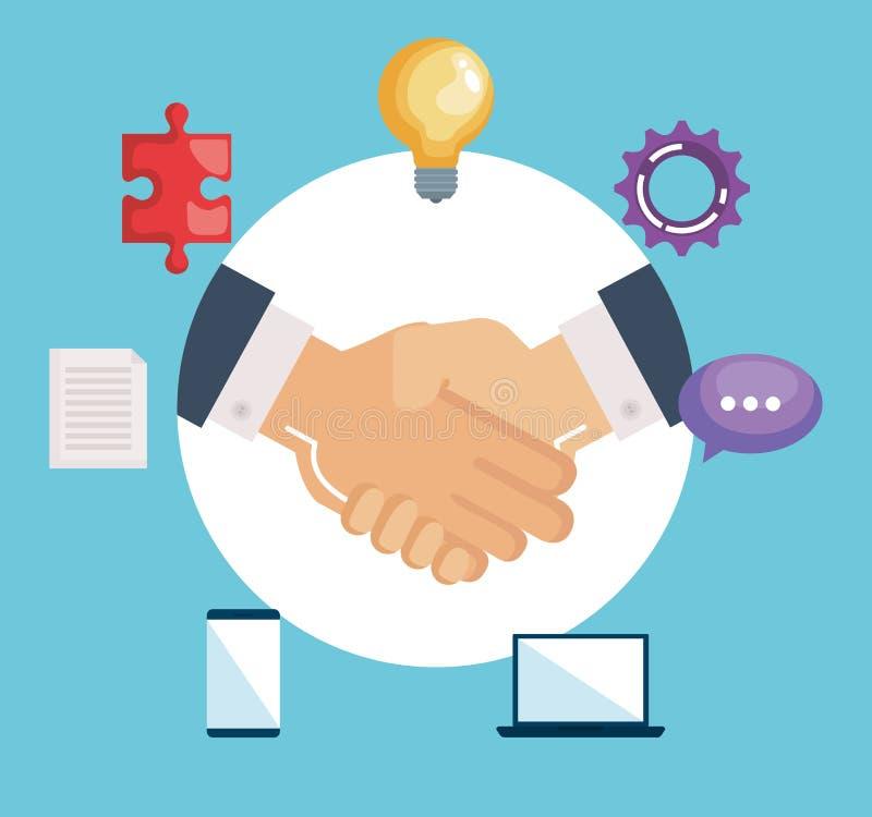 Handshake business with teamwork icons. Vector illustration design royalty free illustration