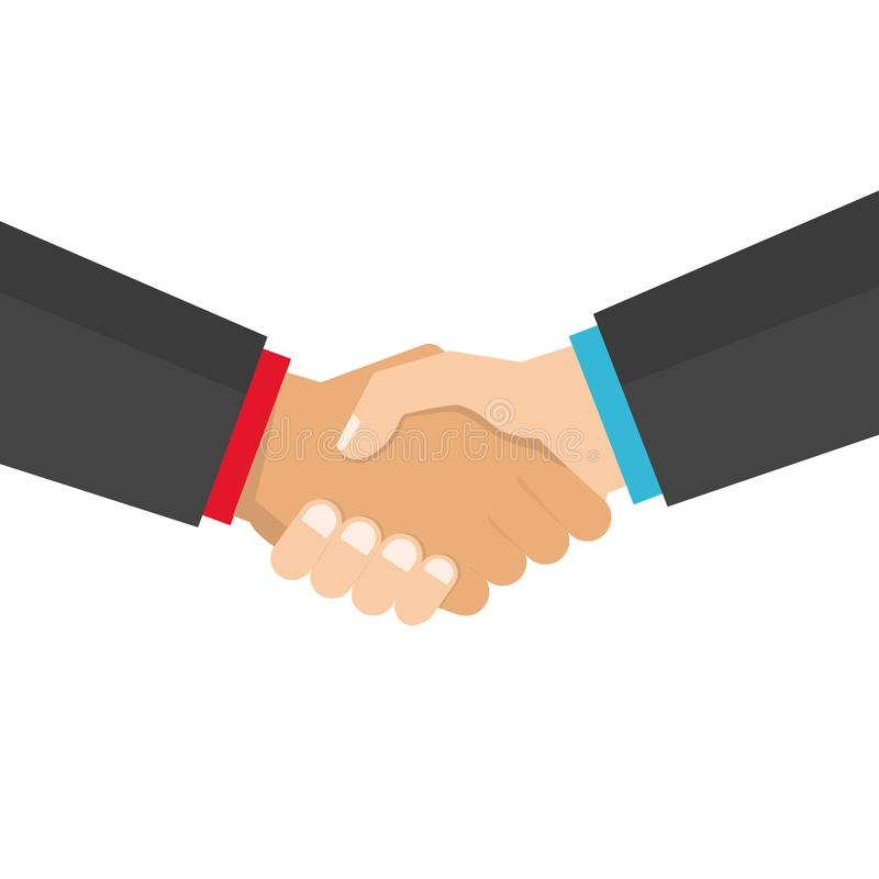 Handshake business vector illustration, symbol of success deal, agreement, good deal, happy partnership, greeting shake. Casual handshaking agreement flat sign royalty free illustration