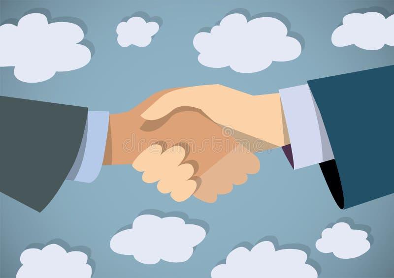 Handshake businessman hand color flat and sky. vector illustration