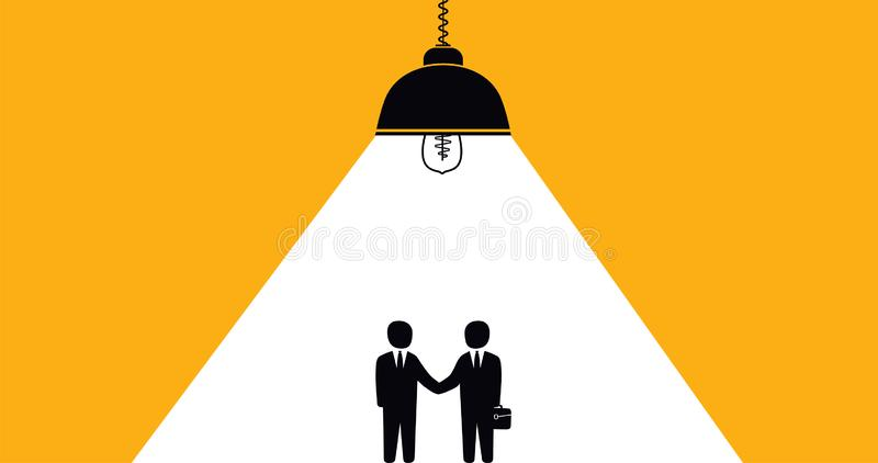 Handshake businessmen cooperation, successful partnership conclusion of a contract. stock illustration