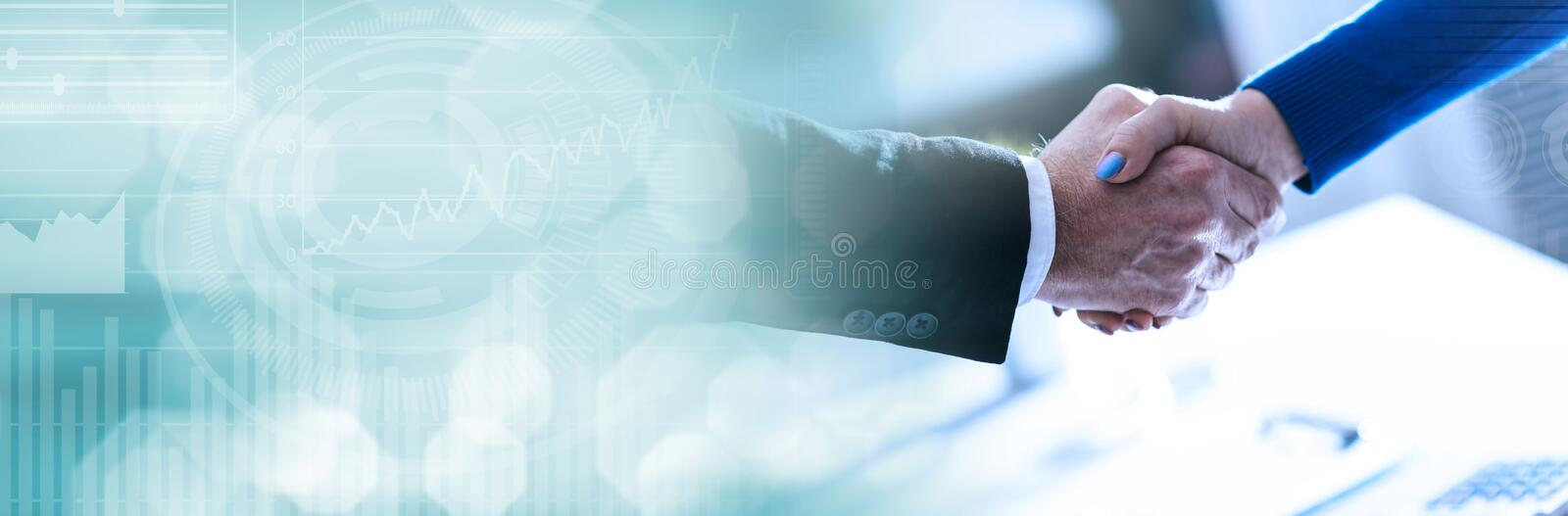 Business agreement with handshake. panoramic banner. Handshake between businesswoman and businessman. panoramic banner stock photos