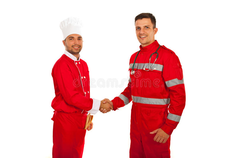 Handshake chef with paramedic. Handshake between paramedic and chef male isolated onw hite background royalty free stock image