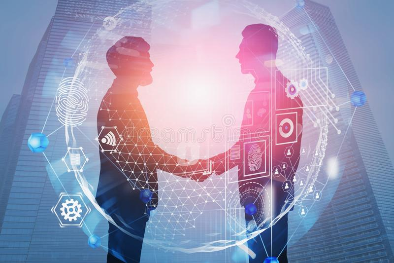 Handshake in city, business interface stock photography