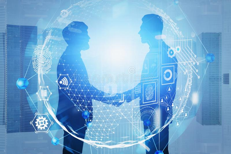 Handshake in city, global business interface royalty free stock photography