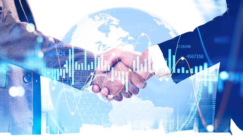 Handshake in city, international partnership royalty free stock photos
