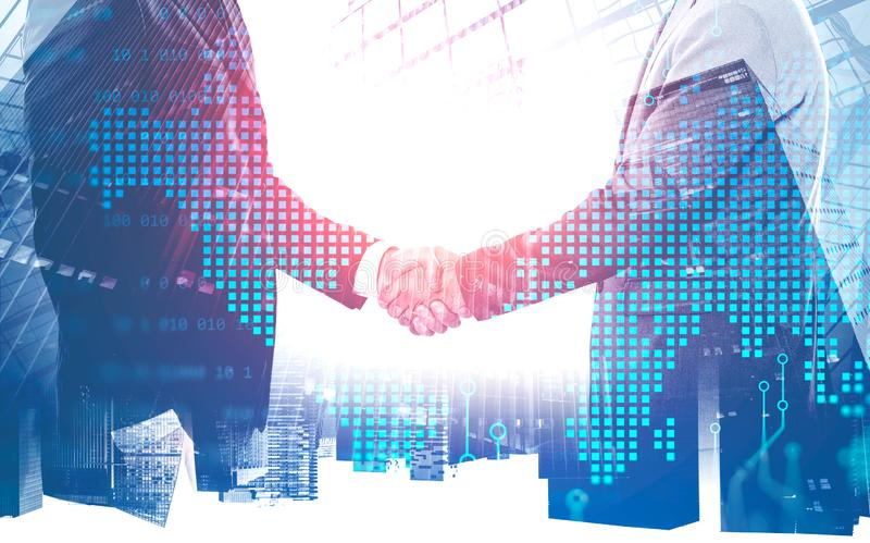 Handshake in city, world map royalty free stock photography