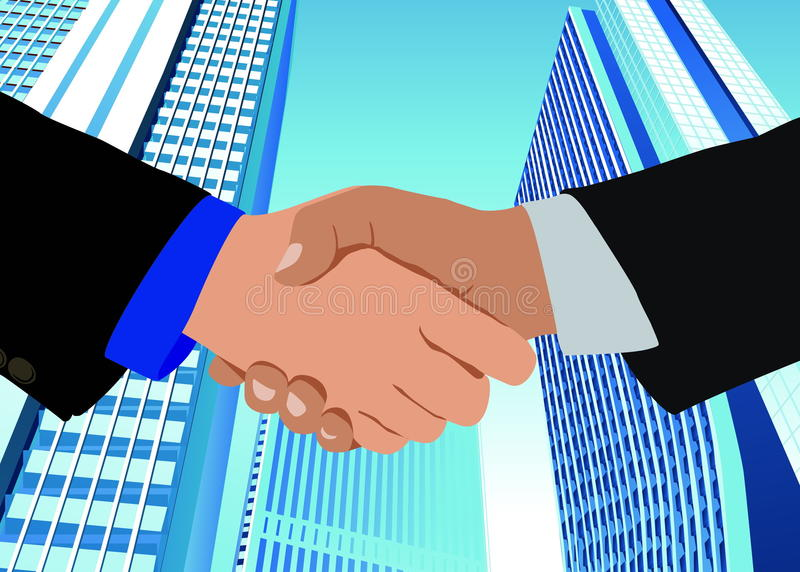 Handshake close up vector illustration