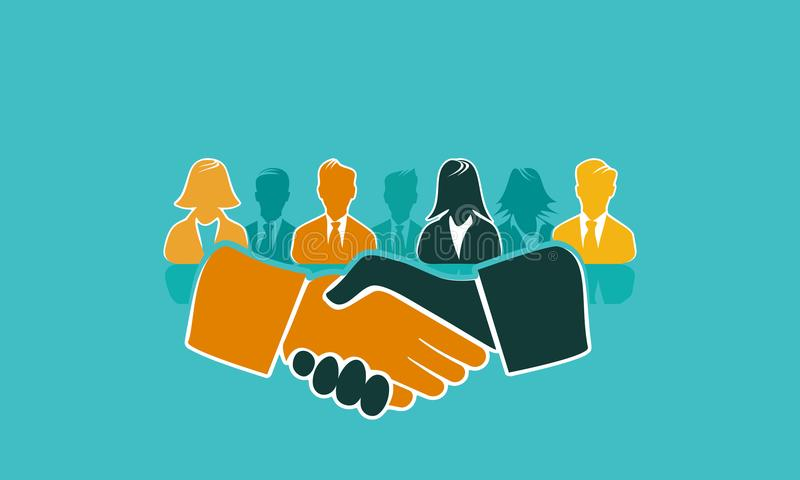 Handshake concept illustration flat design. Handshake concept illustration with shaking hands and avatar silhouettes. Flat design and punchy pastel colors royalty free illustration