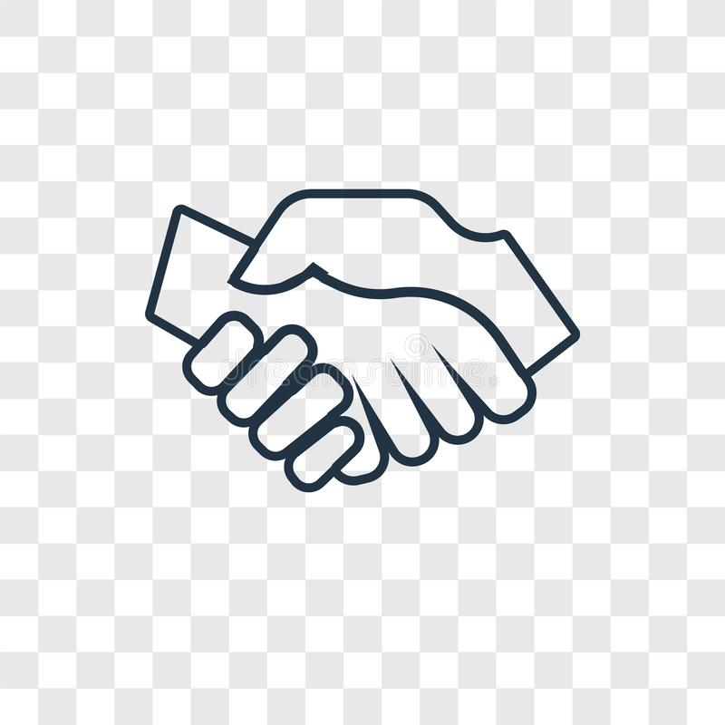 Handshake concept vector linear icon isolated on transparent background, Handshake concept transparency logo in outline style stock illustration