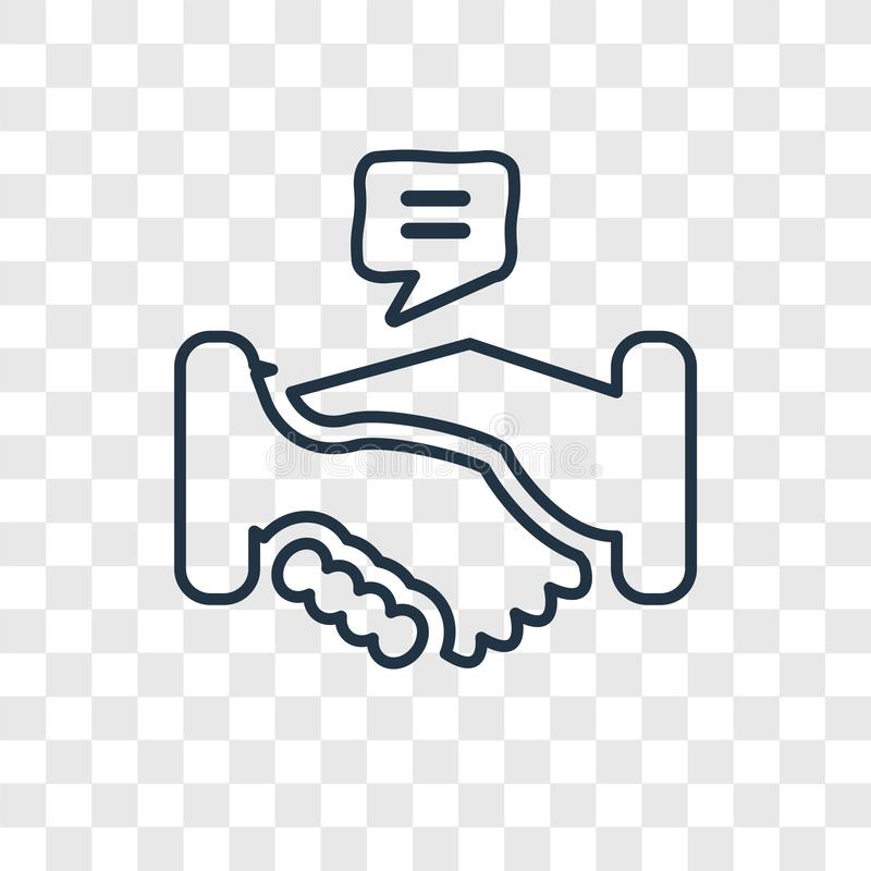 Handshake concept vector linear icon isolated on transparent background, Handshake concept transparency logo in outline style royalty free illustration