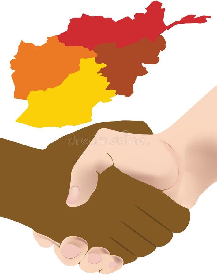 Handshake different color background Afghanistan royalty free illustration