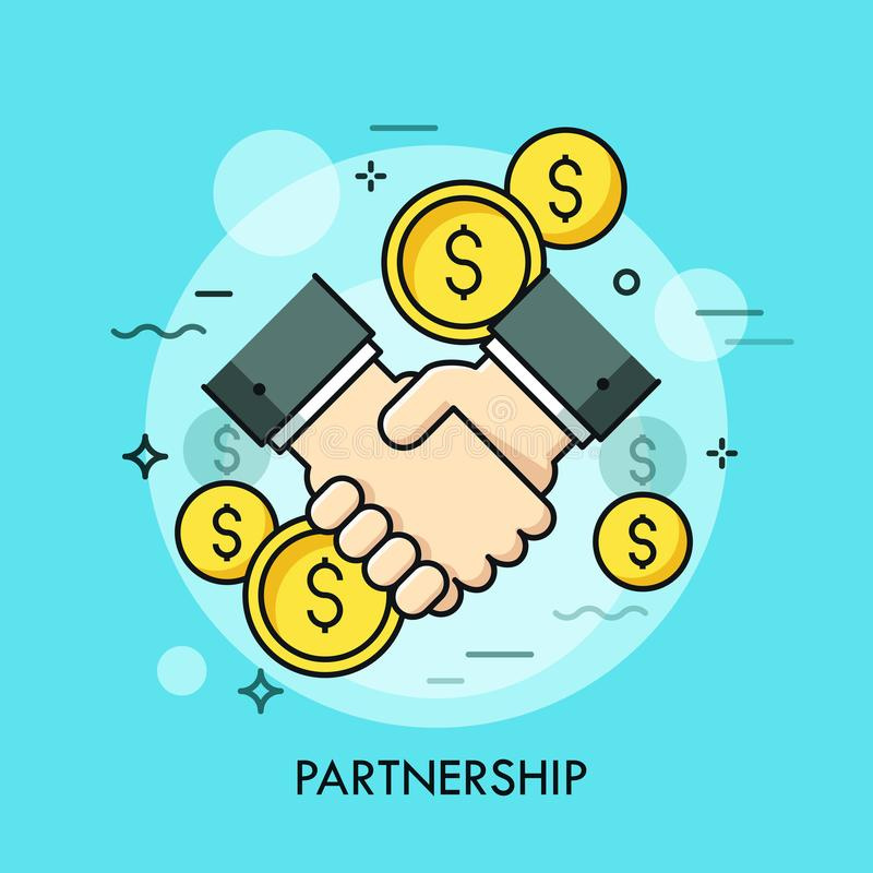 Handshake and dollar coins. Business partnership, effective and beneficial cooperation, deal making, agreement concept. Vector illustration in thin line style vector illustration