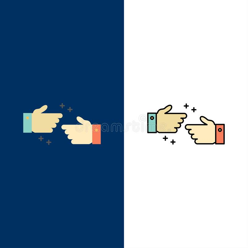 Handshake, Done, Ok, Business  Icons. Flat and Line Filled Icon Set Vector Blue Background royalty free illustration