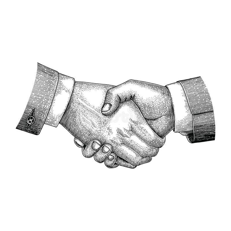 Handshake drawing vintage engraving style. Isolated on white background stock illustration