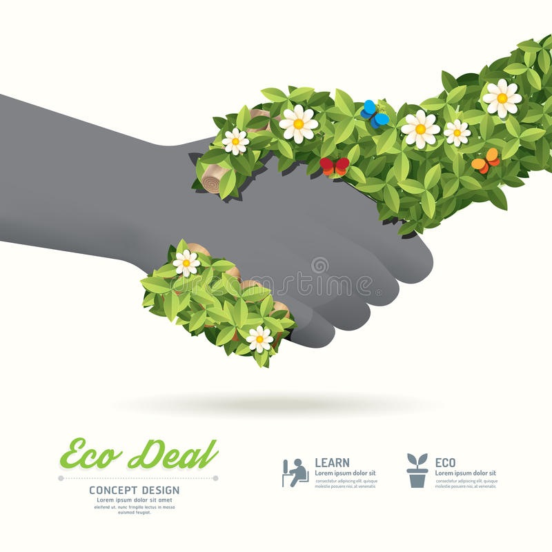 Handshake eco deal concept with hand leaf and flower / can be u vector illustration