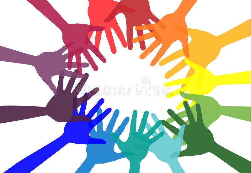 Handshake and friendship icon. Colorful hands. Concept of democracy. Vector stock stock illustration