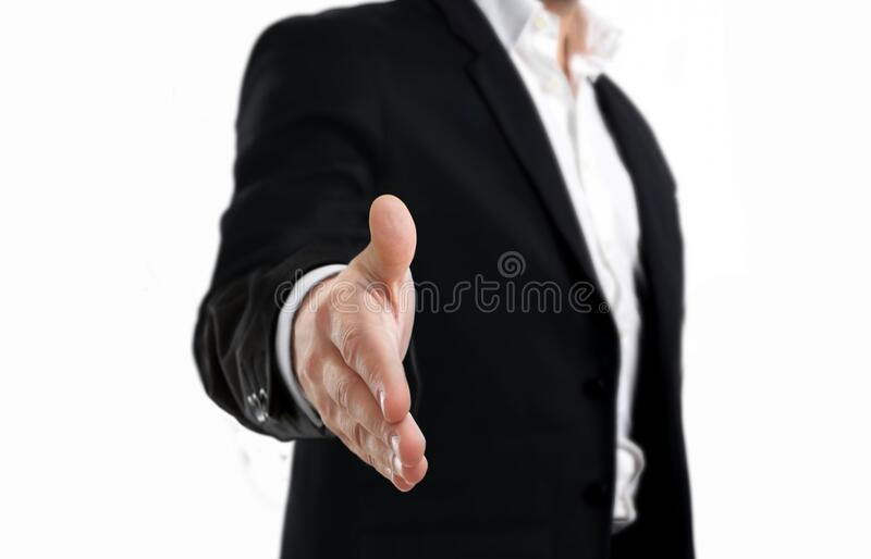 Handshake front view angle on white stock photography