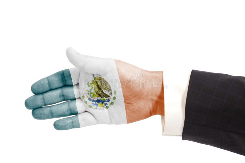 Handshake gesture businessman hand with Flag of Mexico. Isolated on white background stock image