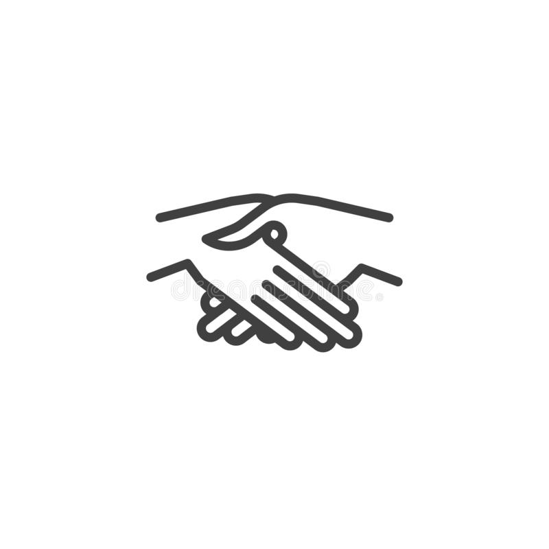 Handshake gesture line icon. Friendship linear style sign for mobile concept and web design. Partnership hands shaking outline vector icon. Symbol, logo royalty free illustration