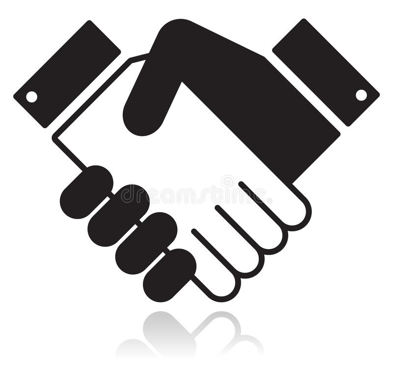 Handshake glossy black icon. Clean shiny icon with shaking hands. Business agreement, meeting, job offer, signing contract, deal concept royalty free illustration