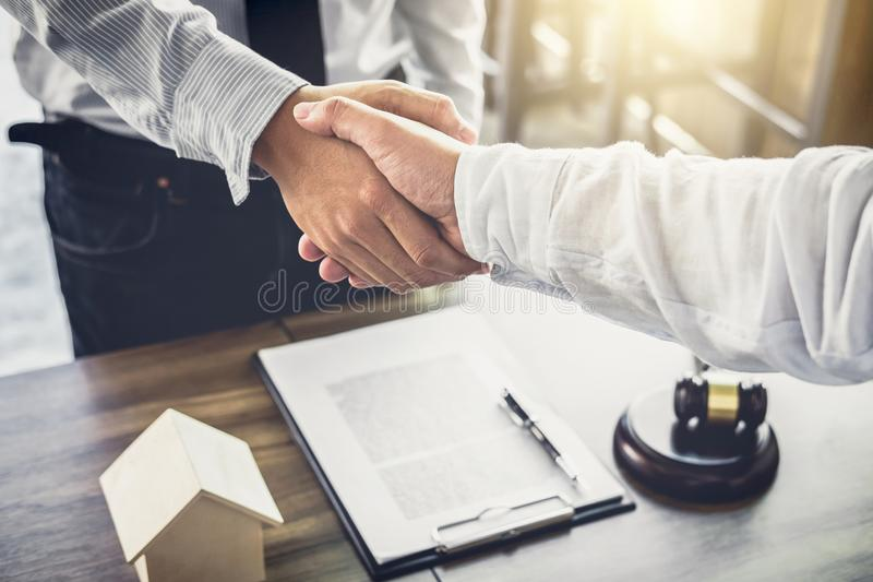 Handshake after good cooperation, Businessman handshake male law. Yer after discussing good deal of Trading contract and new projects for the company of real royalty free stock photography