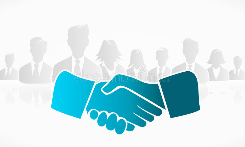 Handshake. With a group of people in the background royalty free illustration