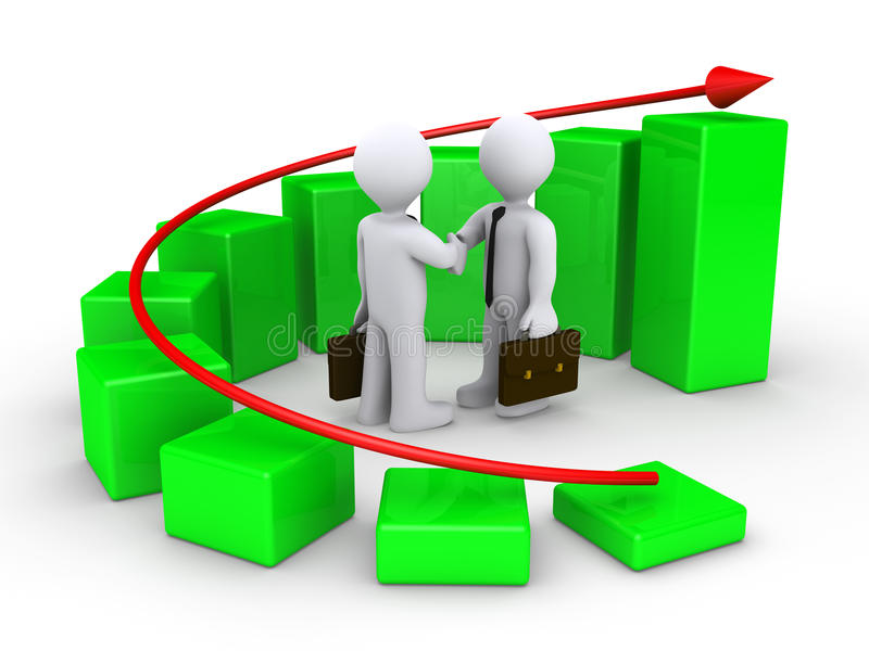 Download Handshake And Growing Graph Stock Illustration - Image: 23358585
