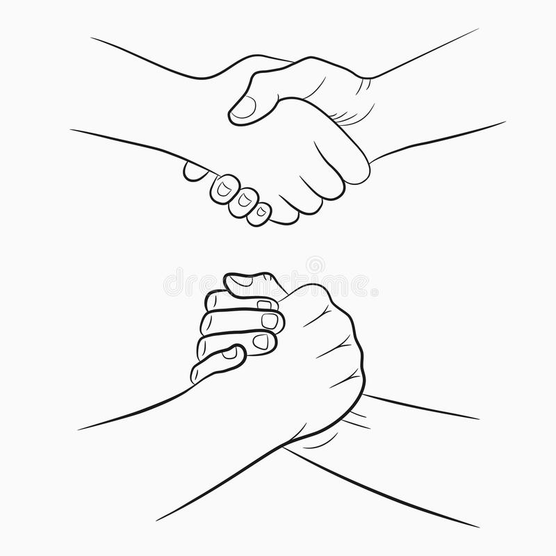 Handshake hand-drawn signs set. Brotherly and friendly drawing shake hands. Vector. royalty free illustration