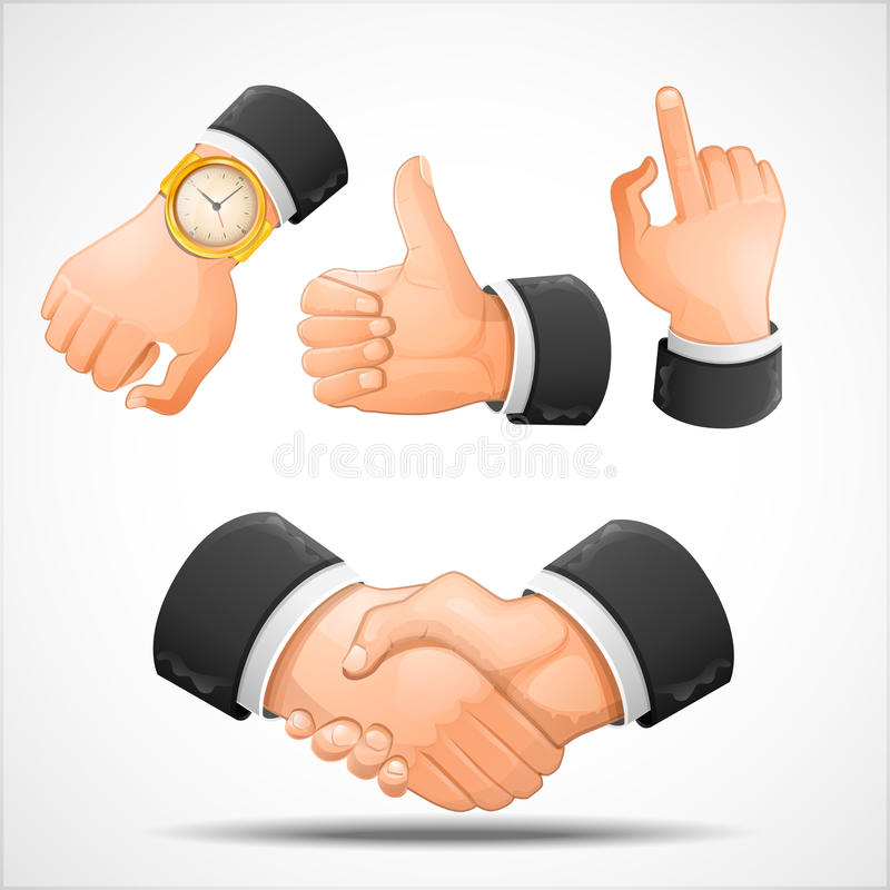Handshake and hand gestures stock illustration