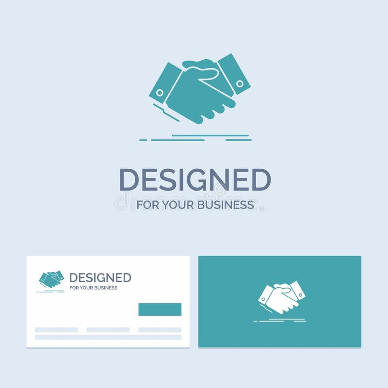 Handshake, hand shake, shaking hand, Agreement, business Business Logo Glyph Icon Symbol for your business. Turquoise Business. Cards with Brand logo template royalty free illustration