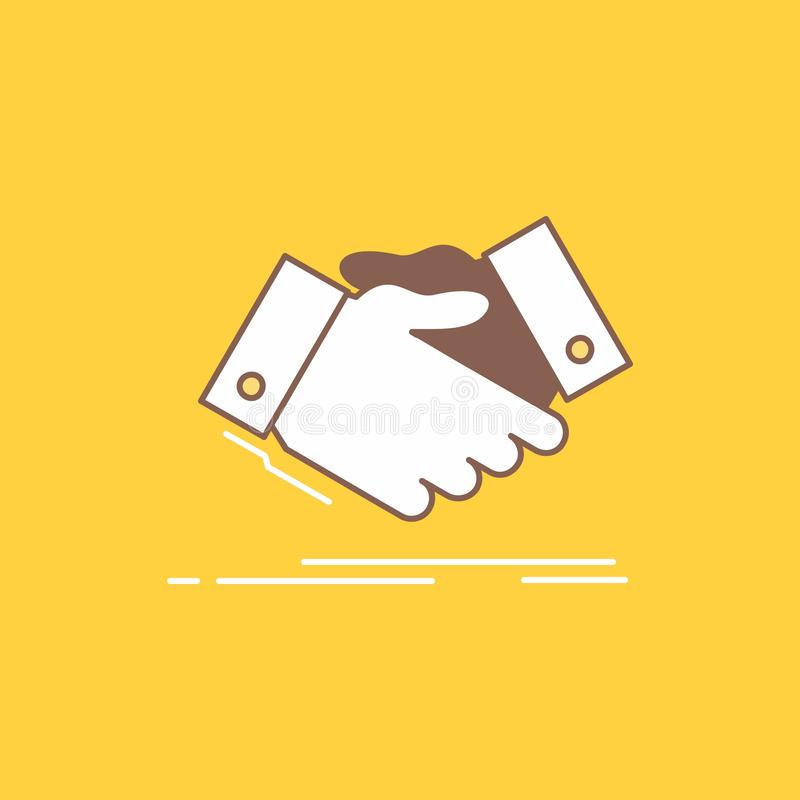 Handshake, hand shake, shaking hand, Agreement, business Flat Line Filled Icon. Beautiful Logo button over yellow background for. UI and UX, website or mobile royalty free illustration
