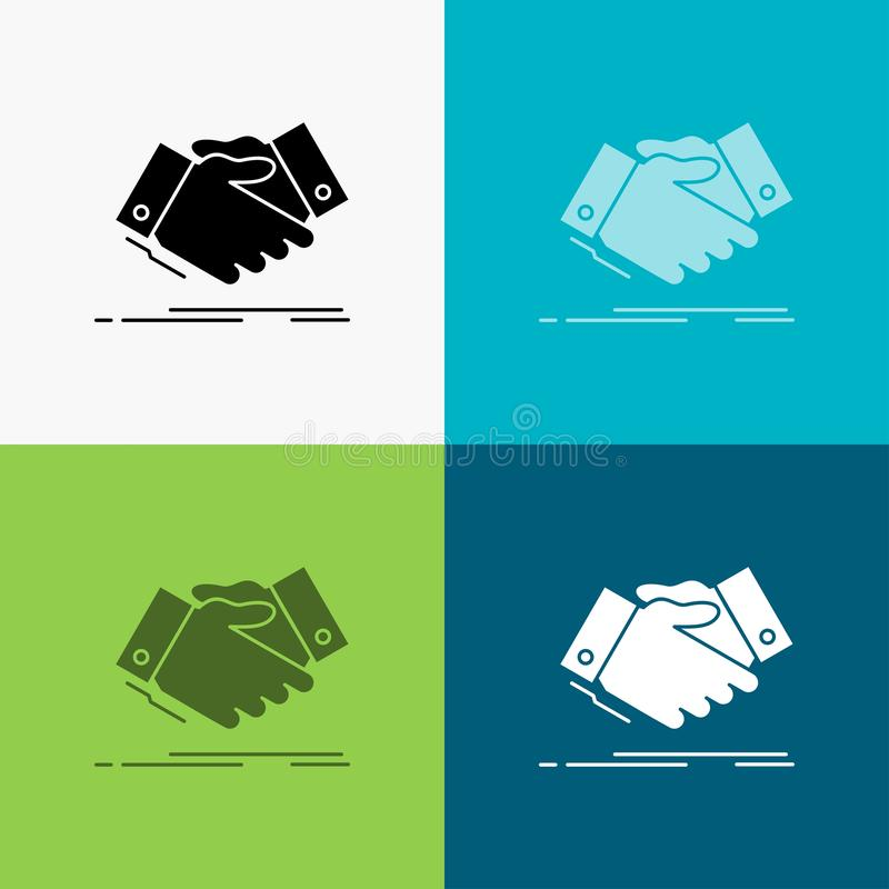 handshake, hand shake, shaking hand, Agreement, business Icon Over Various Background. glyph style design, designed for web and stock illustration