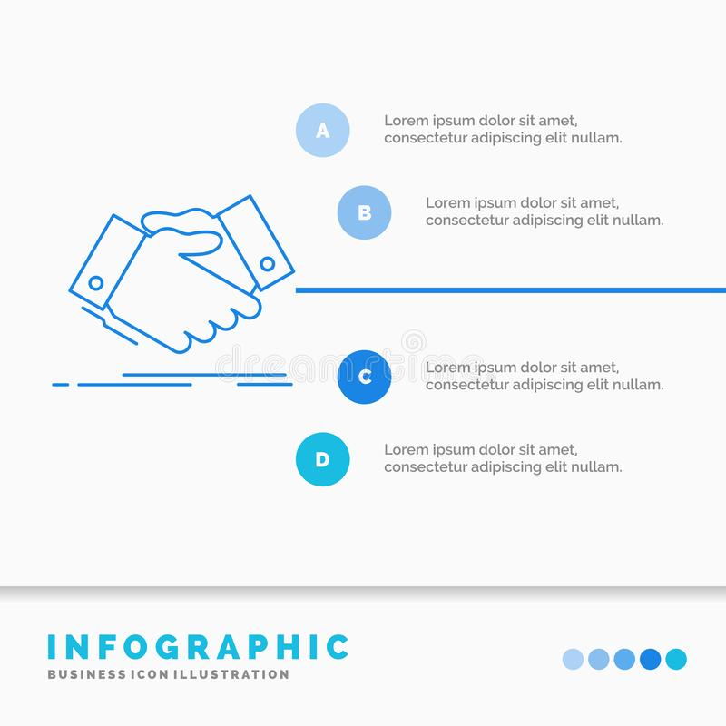 handshake, hand shake, shaking hand, Agreement, business Infographics Template for Website and Presentation. Line Blue icon vector illustration