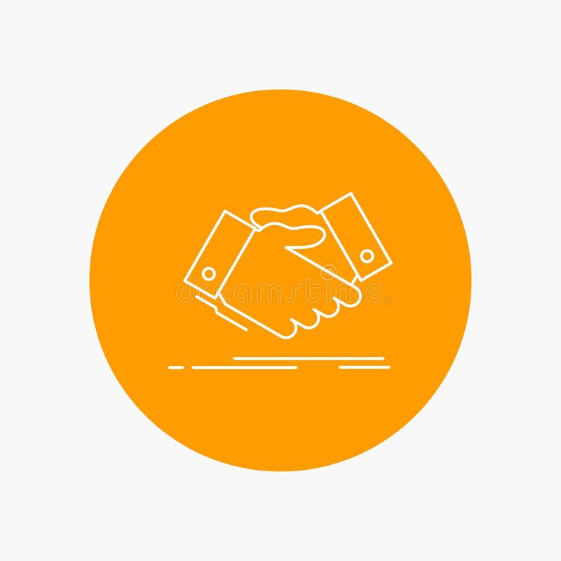 handshake, hand shake, shaking hand, Agreement, business White Line Icon in Circle background. vector icon illustration royalty free illustration