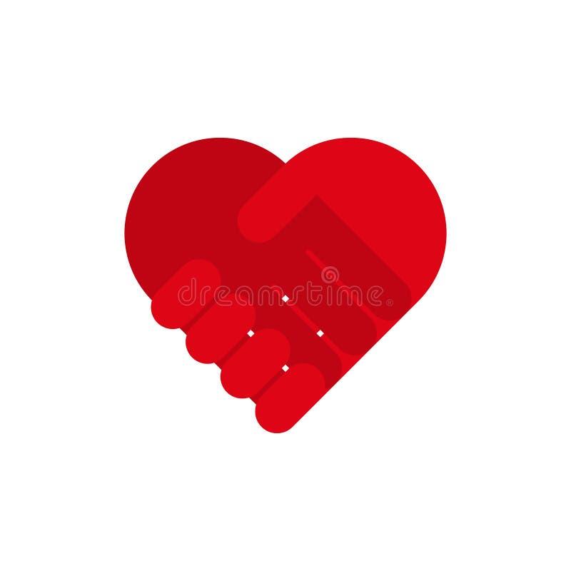 Handshake heart icon symbol. Vector eps10 royalty free illustration