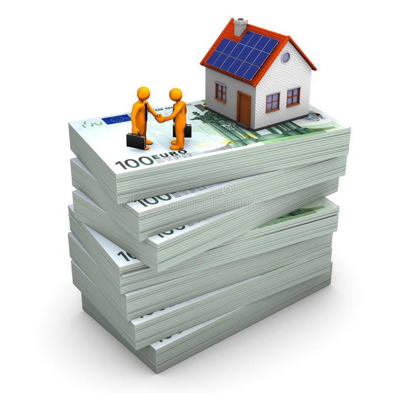 Handshake House Money. A house with orange toons on the hundred euro notes. White background vector illustration