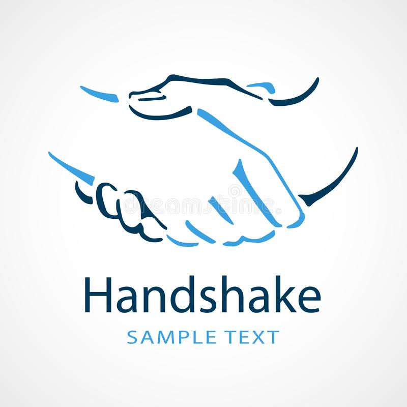 Handshake icon for company logo. Line drawing of two people shaking hands for use as a company logo royalty free illustration