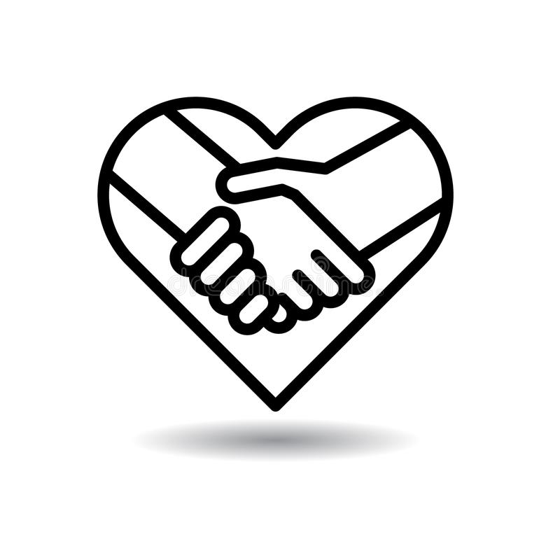 Handshake icon in heart stock illustration