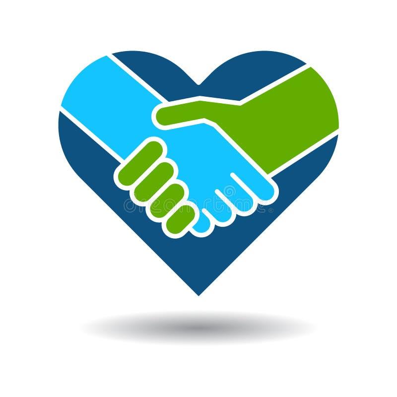 Handshake icon in heart stock illustration
