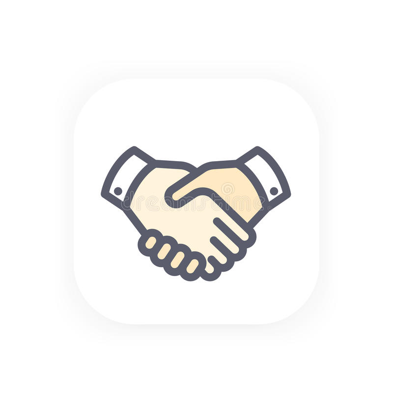 Handshake icon, partnership, shaking hands. Agreement vector pictogram in flat style with outline royalty free illustration